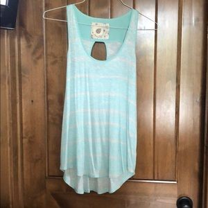 Teal blue + white tank with cute cutout back